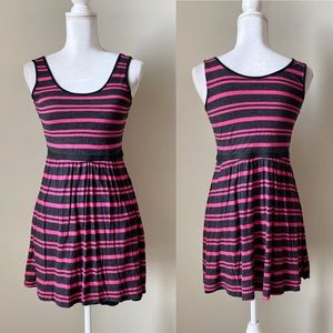 Kensie pink and gray striped casual dress